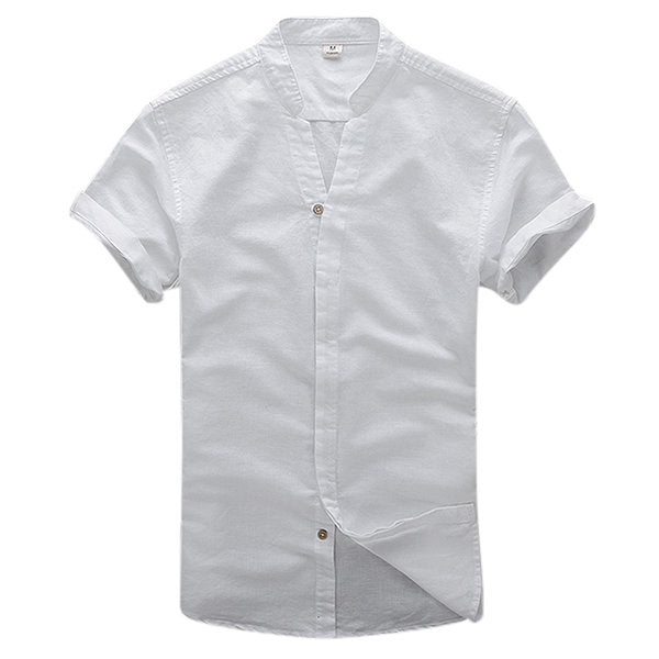 V Neck Dress Shirts for Men Linen Vintage Casual