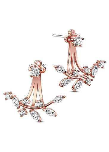 Popular 18K Gold Plated Ear Jackets, Micro Pave AAA Zircon Twig,