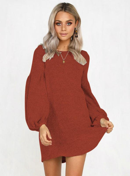 Women Lantern Long Sleeve Sweaters Dress