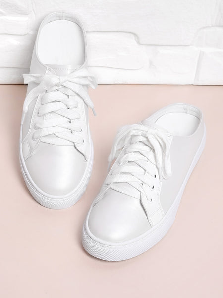 White Lace Up Mule Sneakers