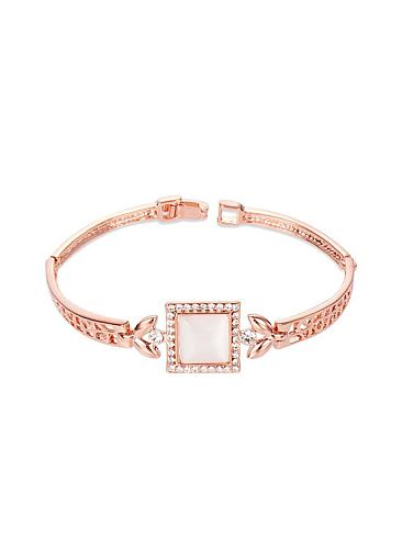 Micro Pave Zirconia Square with Cat's Eye, Rose Gold, Rose Gold Plated Bracelet,