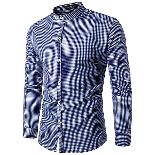 Long Sleeve Cotton Designer Shirt for Men Pin Checked Stand Collar Casual Business