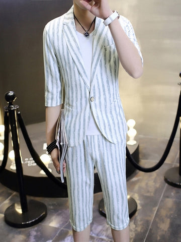 Formal Men's Suits with Vertical Stripes