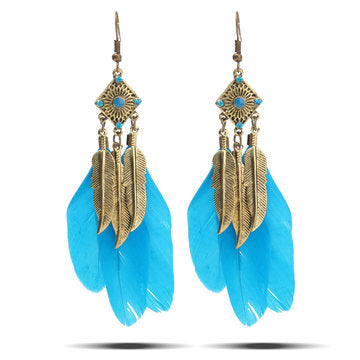 Fashionable Vintage Style Metal Blue Feather Drop Earrings