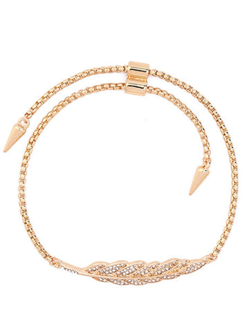 Fathion Leaf-Shaped Rhinestone Chain Tie Bracelet