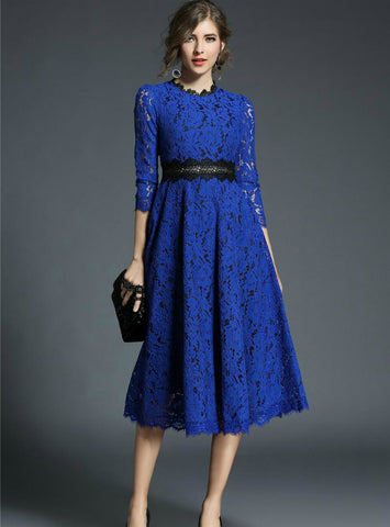 Lace Dresses Floral Crochet Hollow Out Patchwork
