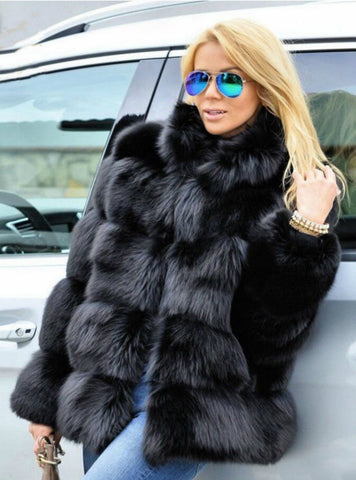 Women Winter Short Long Sleeve Faux Fox Fur Coat