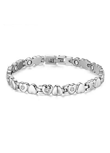 Popular AAA Zircon, Platinum, Heart Alloy Bracelet