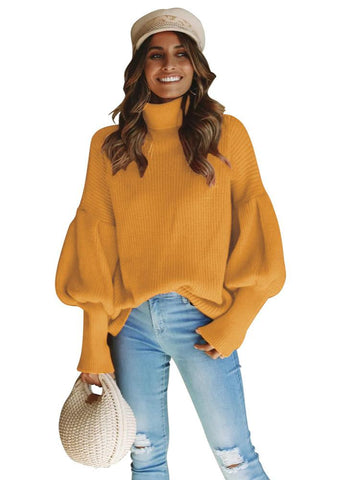 Women High Necked Lantern Oversleeve Sweater