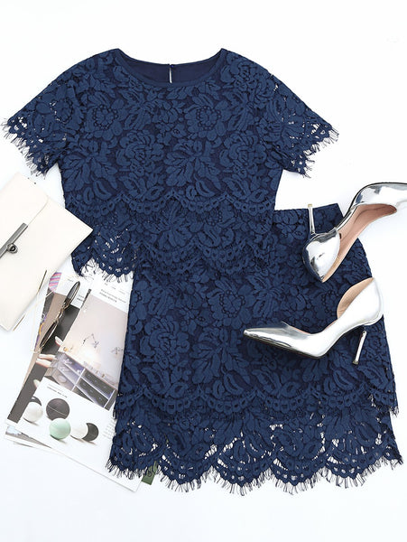 Scalloped Lace Top and Skirt Set
