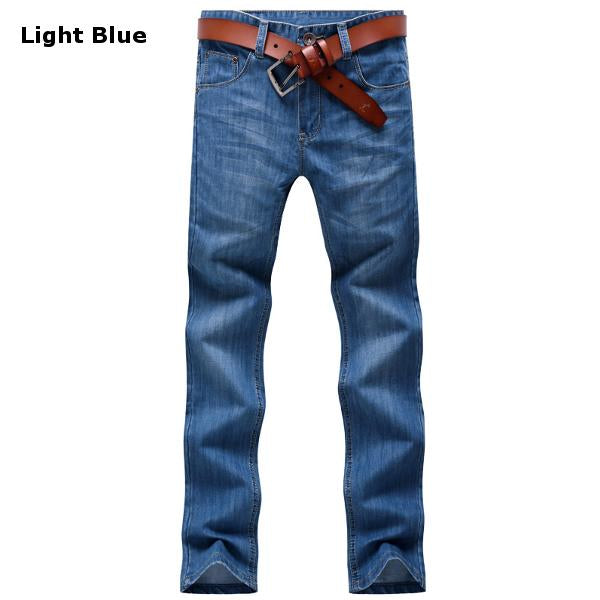 Straight Leg Slim Fit Jeans For Men Casual Stylish Business Cotton Thin