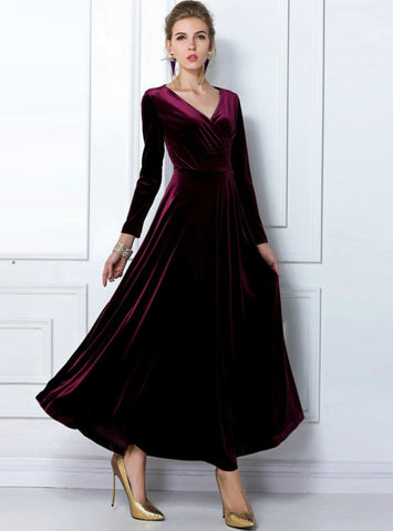 Long Sleeve Ball Gown Dress Vintage Velvet Party Dresses