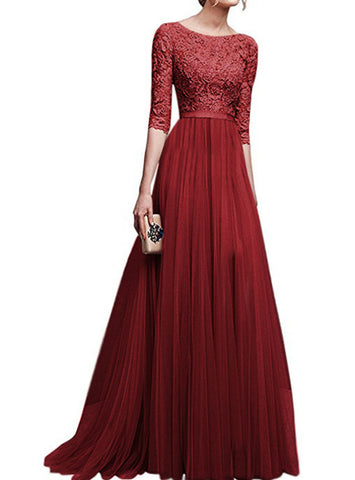 Lace Dress Slim Solid Maxi Party Dresses