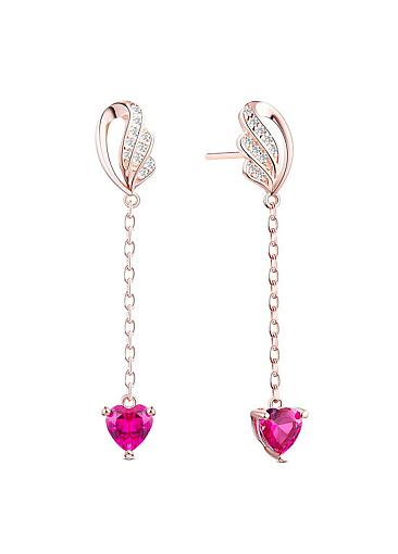 Popular Micro Pave Zirconia Wings with Rose 925 Sterling Silver Stud Earrings