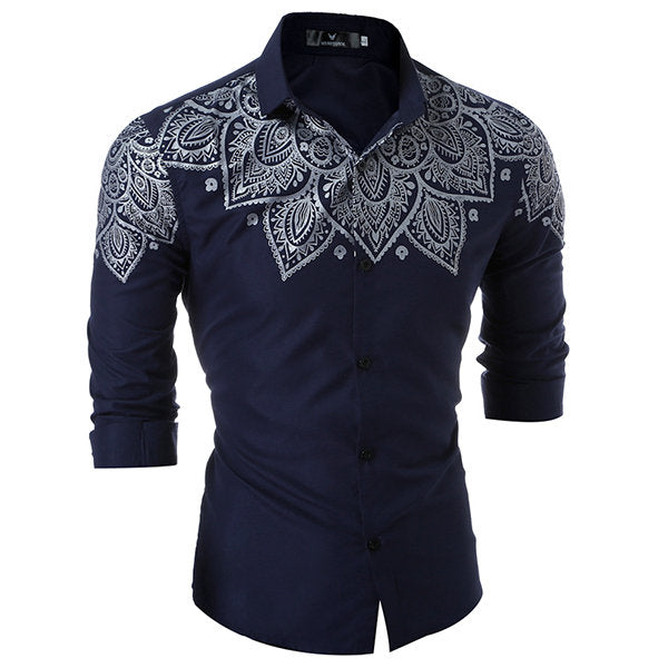 Turn Down Color Designer Dress Shirt for Men Formal Casual Slim Fit Printing Long Sleeve