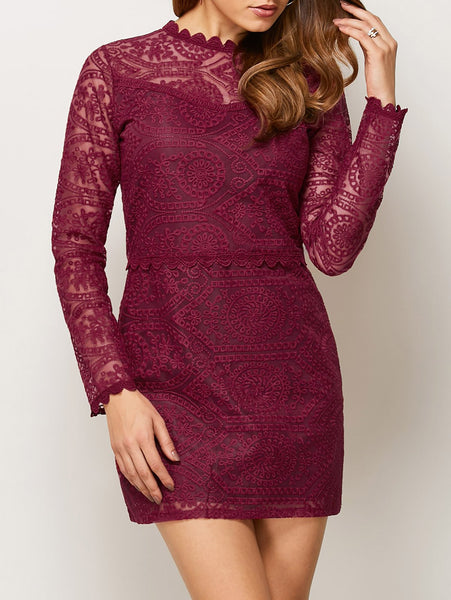 Lace Ruff Collar Mini Dress