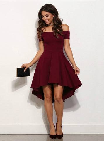 Off the Shoulder Short Sleeves Knee-length A-Line dress
