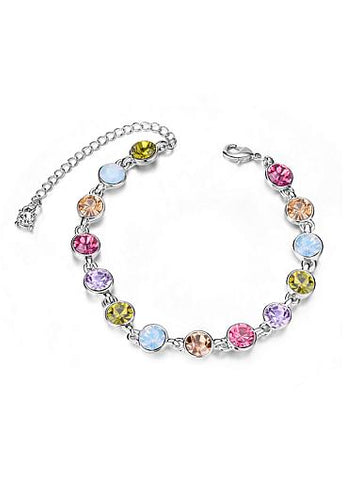 Cheap Multicolor Round Austrian Crystals Platinum Plated Alloy Bracelet