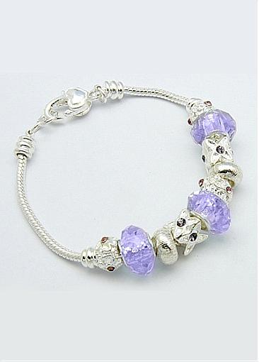 Cheap Alloy Beads and Glass Beads, Lilac European Style Bracelets
