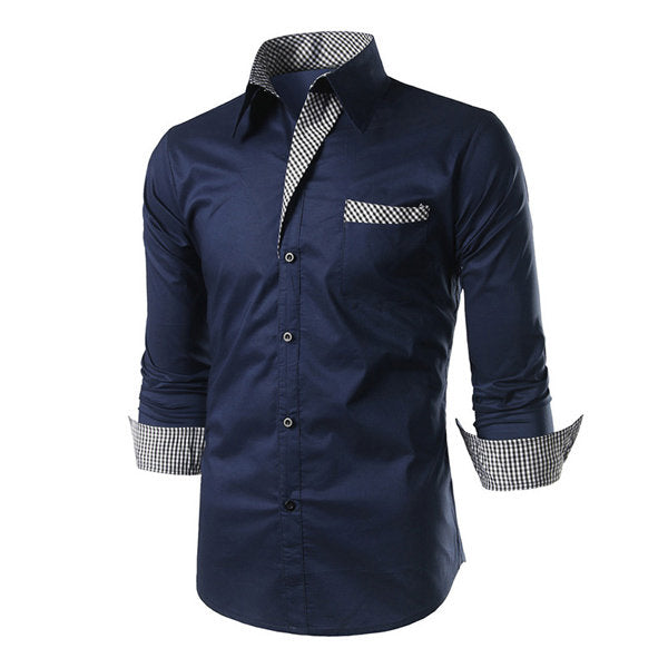 Slim Checked Button Up Designer Business Casual Fashion Shirts for Men