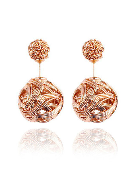 Beatiful Knot Ball Double Sided Earrings - Gold