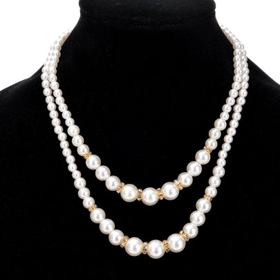 Fathion Elegant Double Layers Pearl Necklace