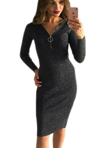 Knee-Length Sheath Dress Female Bodycon Warm Dresses
