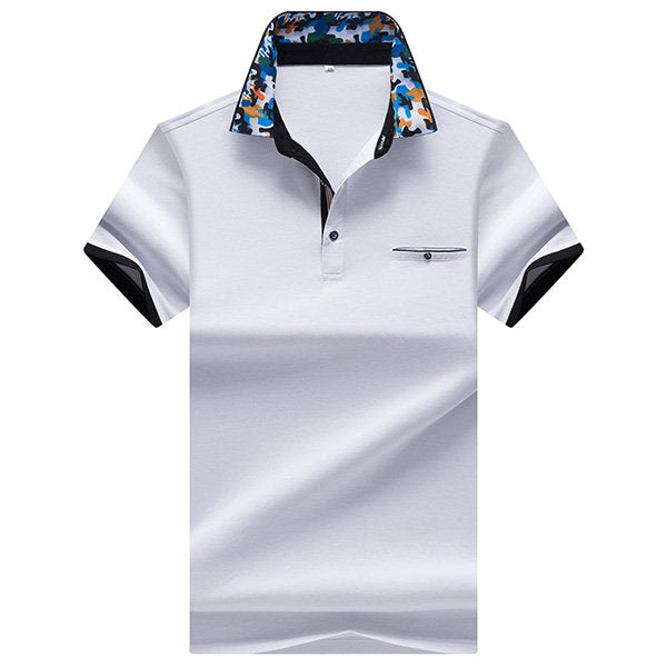 Polo Shirt Printed Collar Short Sleeve Casual Tops Mens Summer Breathable