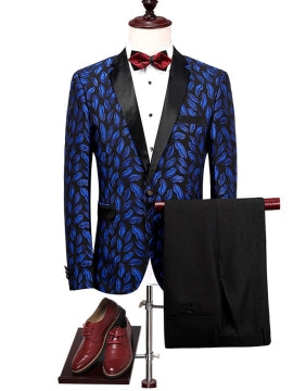 Fashion Bright Printed Slim Men's Dress Suit Notched Collar One Button