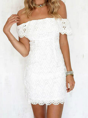 White A Line Lace Sexy Dress Women Soild Off The Shoulder