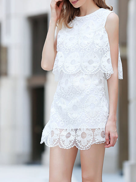Cold Shoulder Flouncing Lace Overlay Dress
