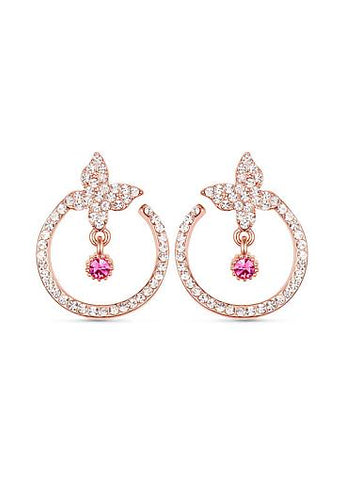 Micro Pave AAA Zircon Butterfly and Circle 18K Gold Plated Ear Studs