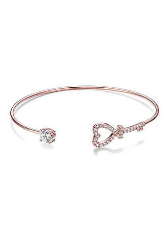 Simple Micro Pave AAA Zircon Heart Shape Key Gold Plated Cuff Bangle