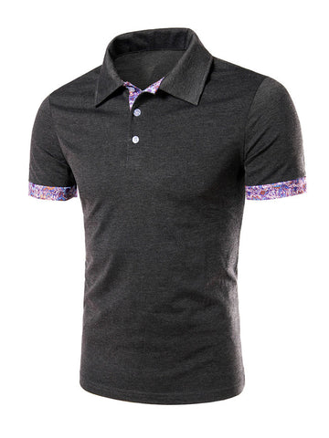 Cheap Polo Collar Stylish Contrast Trim T-Shirt