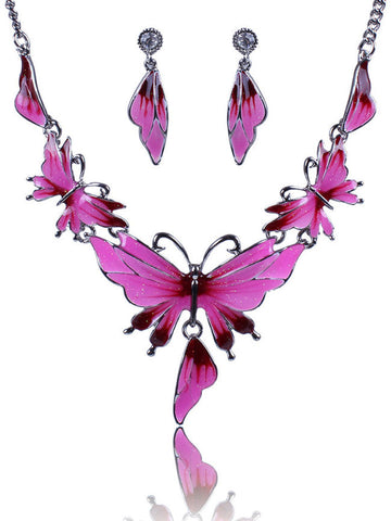 Fathion Butterfly Shape Earrings And Necklace Set