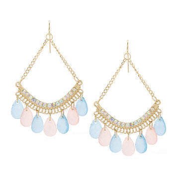Cheap Hoop Drop Earrings With Colorful Drops