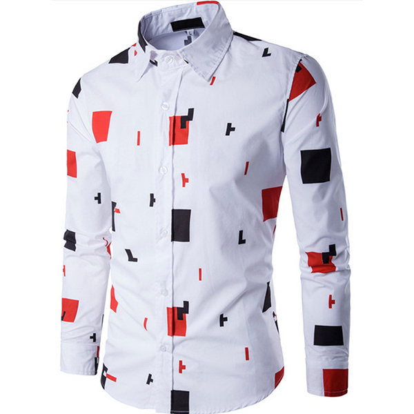 Collar Designer Shirts for Men White Casual Stylish Printing Band