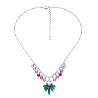 Link Chain Necklace Christmas Leaf Colorful Square