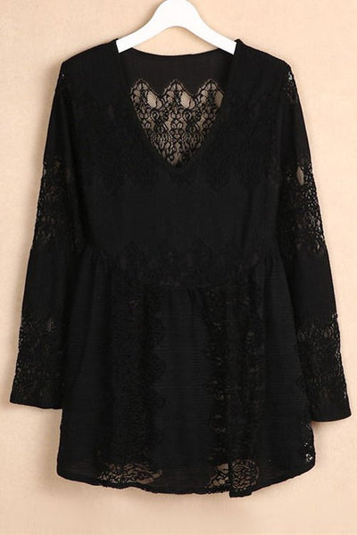 V-Neck Bell Sleeve Lace Dress