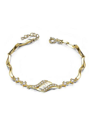 Cheap Micro Pave AAA Zirconia Leaf,  Gold Plated Alloy Bracelet