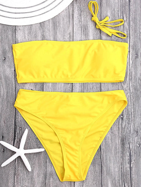 Padded High Cut Bandeau Bikini Set