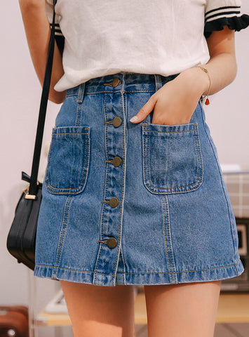 Denim Skirt High Waist A-line Mini Skirts Women