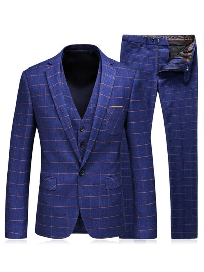 One Button Slim Fit Men's Dress Suit Notched Collar Plaid Printed