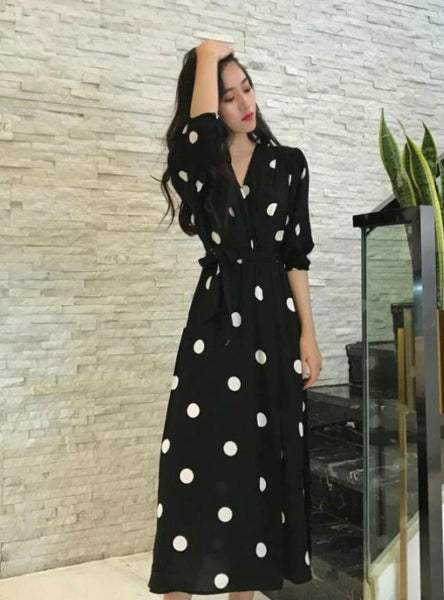 V-Neck Ladies Long Dress Casual Half Sleeve Dot Dress