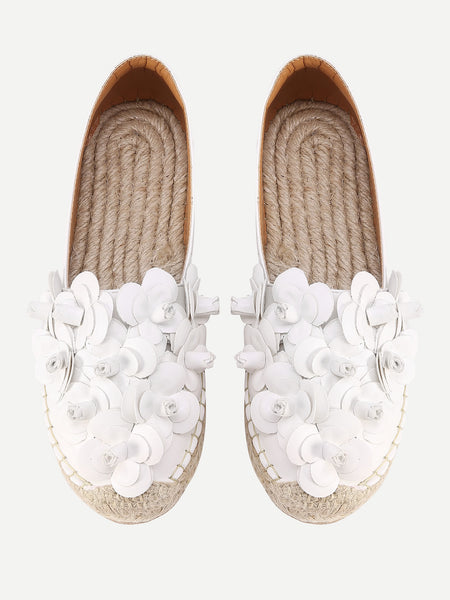 Beatiful Flower Embellished Espadrille Flats