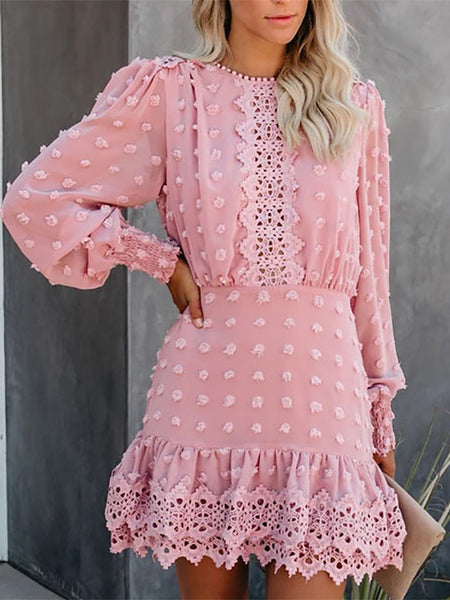 Slim Party Mini Pink Short Dress Women Long Puff Sleeve Dresses