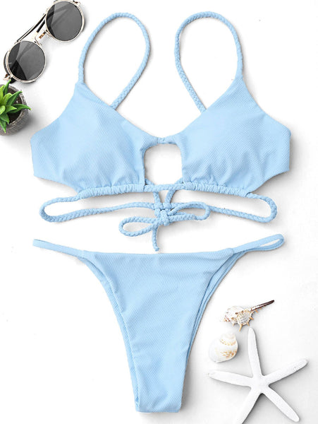 Cutout Braided Bralette String Bikini Set