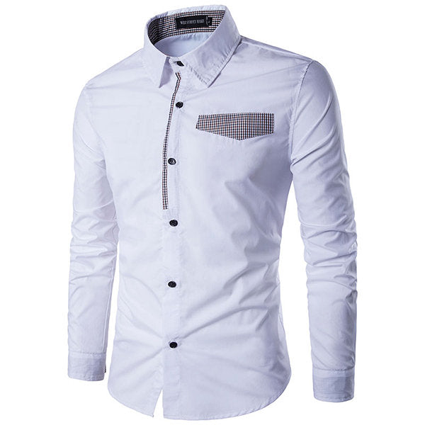 Designer Shirts for Men Fashion Patchwork Slim Band Collar