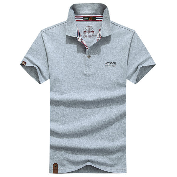 Turn-down Collar Short Sleeve Business Polo Shirt Solid Color Casual Tops