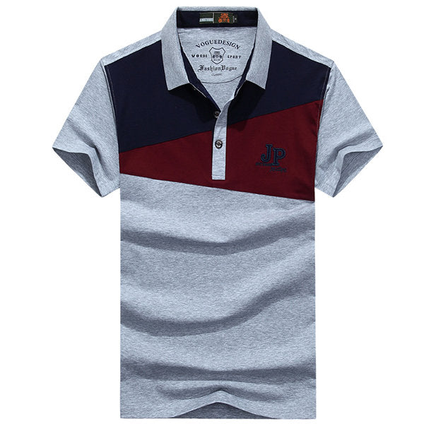 Short Sleeve Casual Polo Shirt Mens Summer Hit Color Turn-down Collar